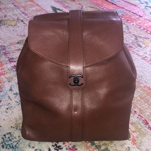 CHANEL Vintage Caviar Brown Leather Backpack